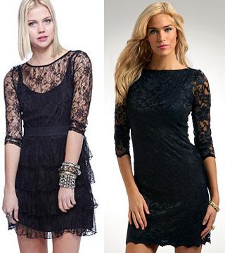 Кружевные платья стили черных и белых