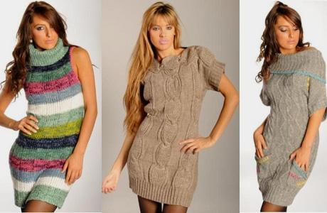 Вязаное платье модное своими руками