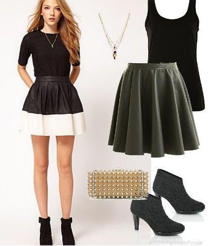 Черная юбка на бретелях