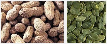 Арахис - 184 мг, тыквенные семечки - 550 мг магния