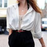 Модный образ с помощью обычной рубашки